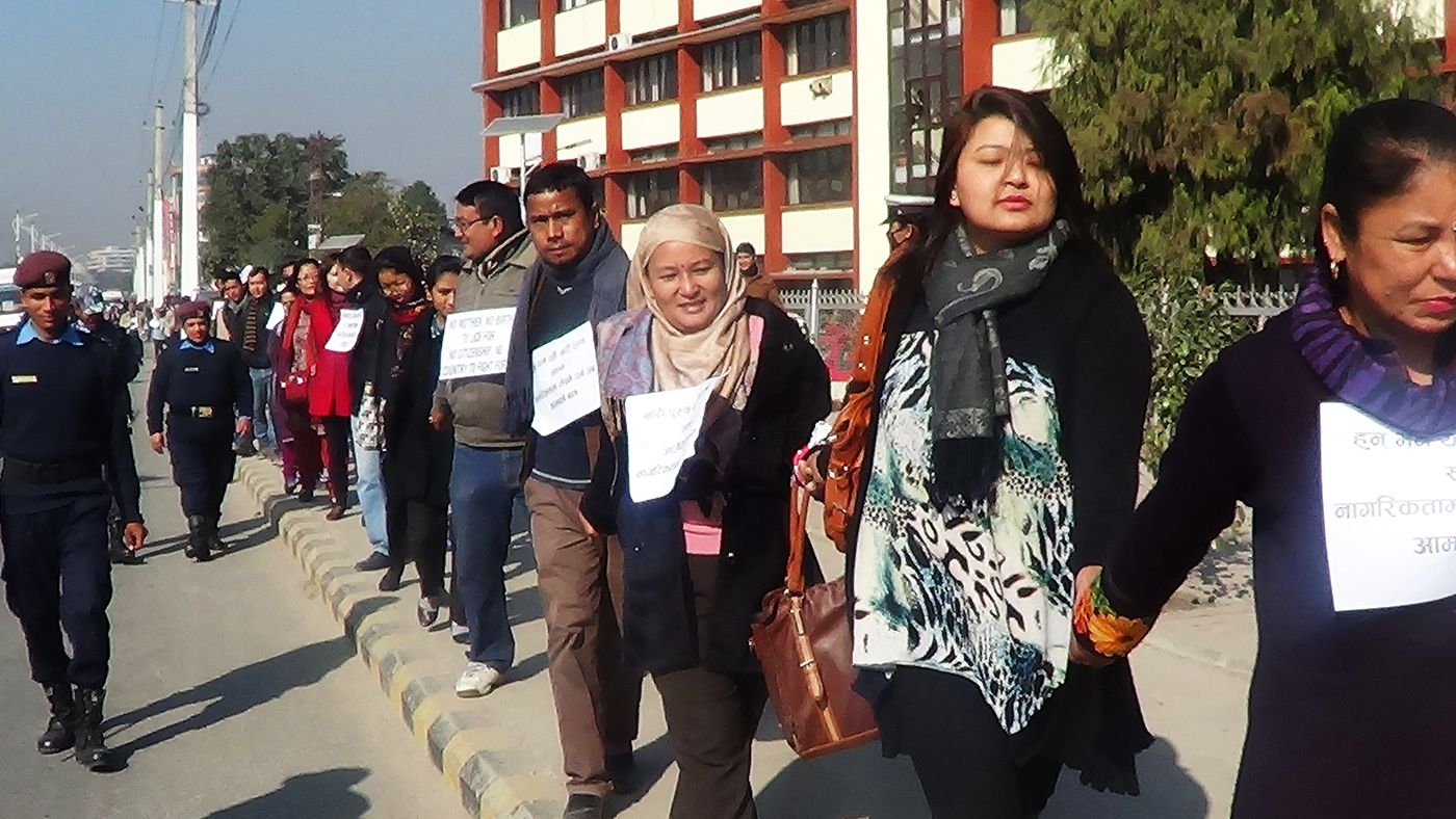 Human Chain demanding citizenship through mother organized in November 2014