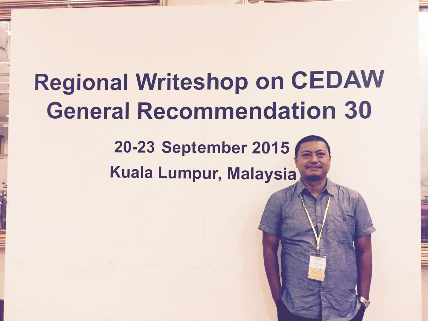 Advocate Sabin Shrestha, Executive Director of FWLD participating in the Regional Writeshop on CEDAW in September 2015