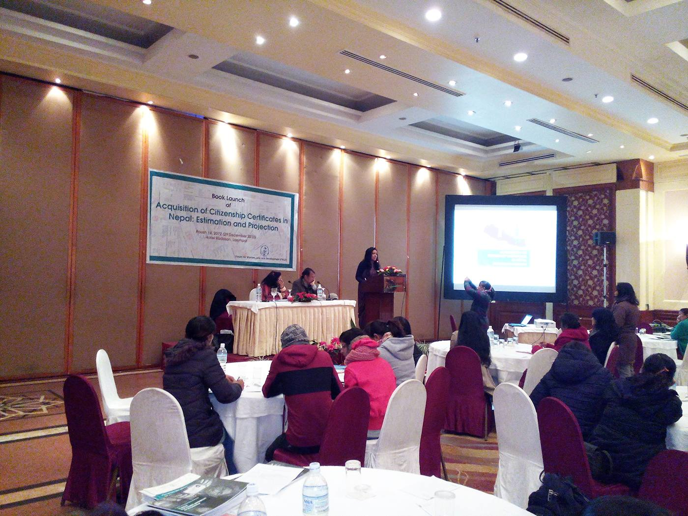 Book Launch of 'Acqusition of Citizenship Certificates in Nepal: Estimation and Projection' by Sapana Pradhan Malla and Meera Dhungana in December 2015