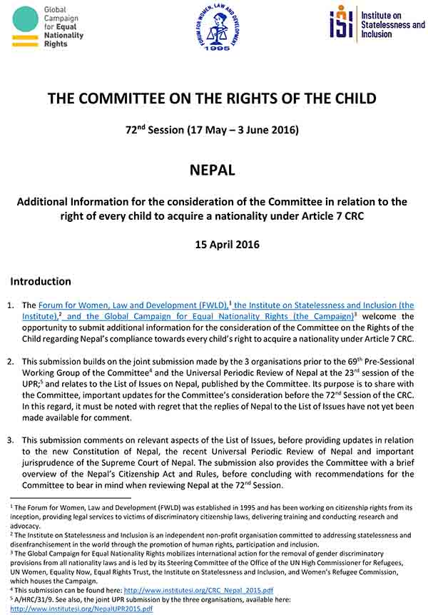THE COMMITTEE ON THE RIGHTS OF THE CHILD